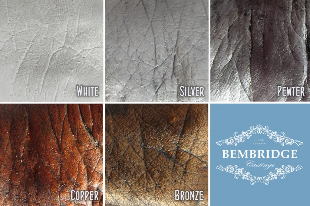 Casting colours - white, silver, pewter, copper, bronze