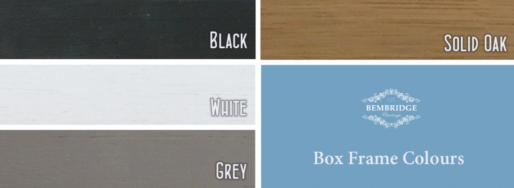 box frames in black, white, grey and solid oak